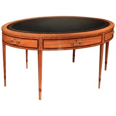 Mid-19th Century Satinwood Oval Writing Table in the Sheraton Manner