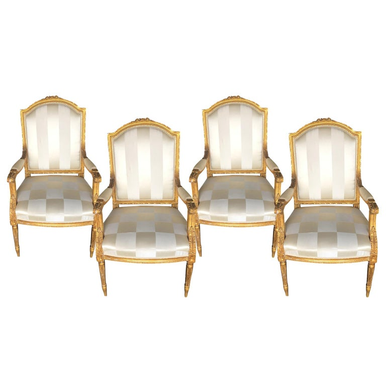Mid-19th Century Set of Four Napoleon III French Armchairs For Sale 1