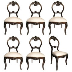 Mid-19th Century Set of Six Italian Louis Philippe Upholstered Palisander Chairs