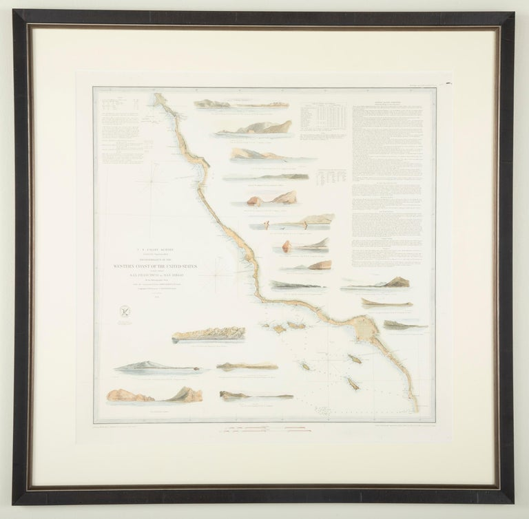 Mid-19th Century Set of Three Charts of the West Coast For Sale 10