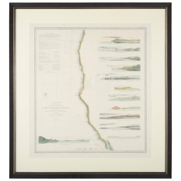 Set of three mid-19th century maritime charts of the west coast of the United States from the famous U.S. Coast Survey project.   Included are San Diego to San Francisco, San Francisco to the Umpquah River (Oregon) and Umpquah River to the