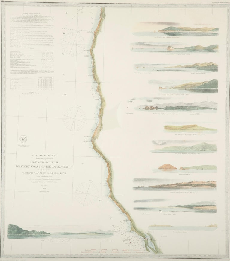 American Mid-19th Century Set of Three Charts of the West Coast For Sale