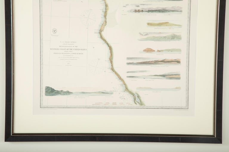 Mid-19th Century Set of Three Charts of the West Coast In Good Condition For Sale In Stamford, CT