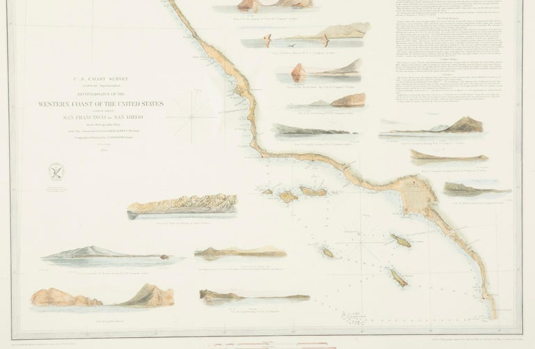 Mid-19th Century Set of Three Charts of the West Coast For Sale 3