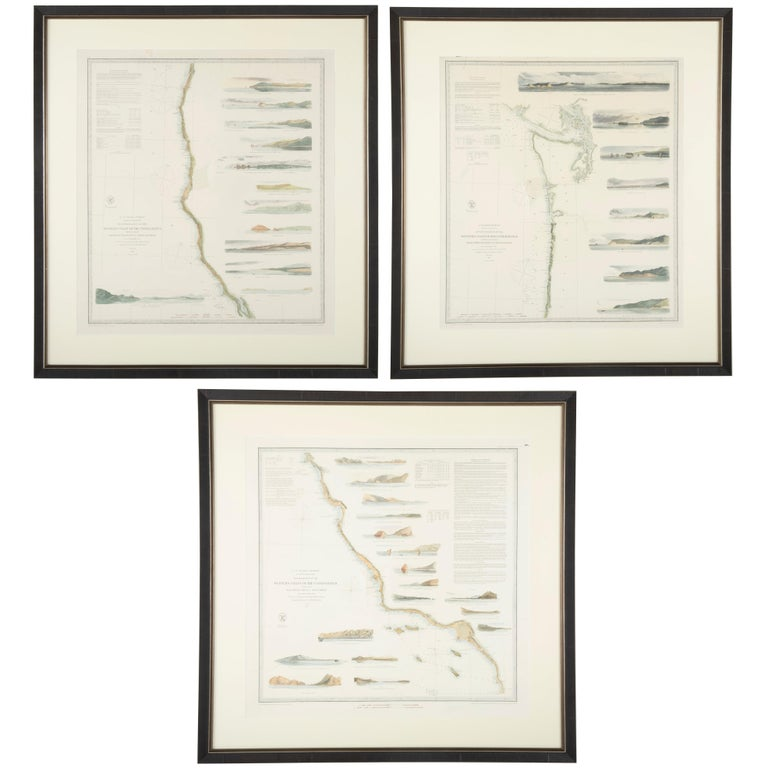 Mid-19th Century Set of Three Charts of the West Coast For Sale