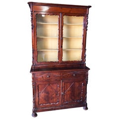 Mid-19th Century Showcase with Two Doors in Larch Original Color Antique Tuscany