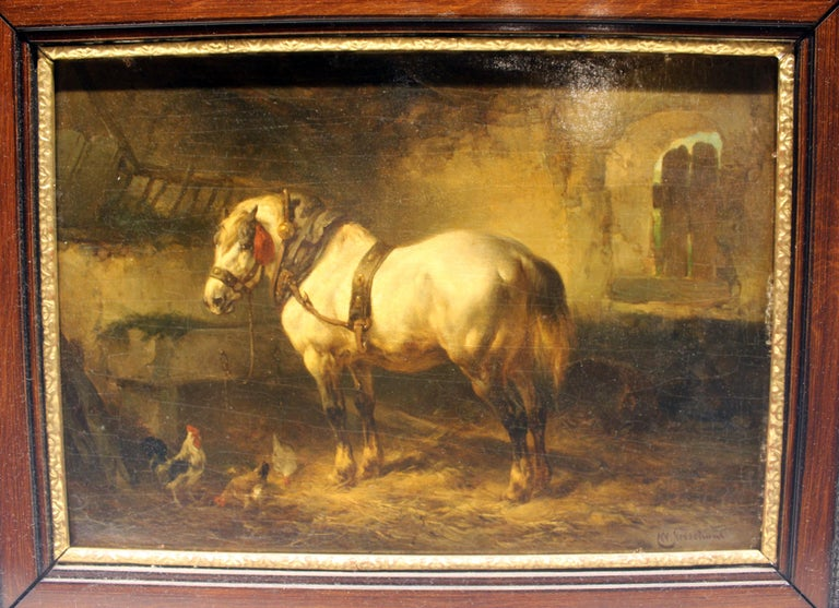 19th century Dutch painting by Wouterur Verschuur of Horse and Chickens in Barn.