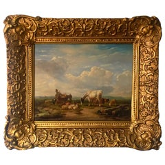 Mid-19th Century Signed Oil on Panel Painting Depicting a Rural Scene