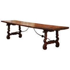 Mid-19th Century Spanish Carved Elm and Wrought Iron Dining Room Table