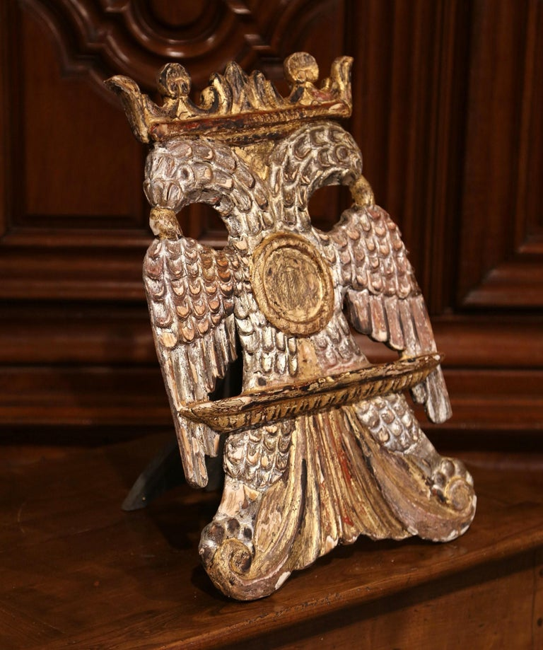 Rococo Mid-19th Century Spanish Carved Giltwood and Silver Book Stand Holder For Sale