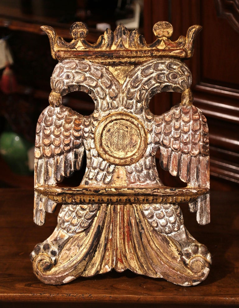 Mid-19th Century Spanish Carved Giltwood and Silver Book Stand Holder In Excellent Condition For Sale In Dallas, TX