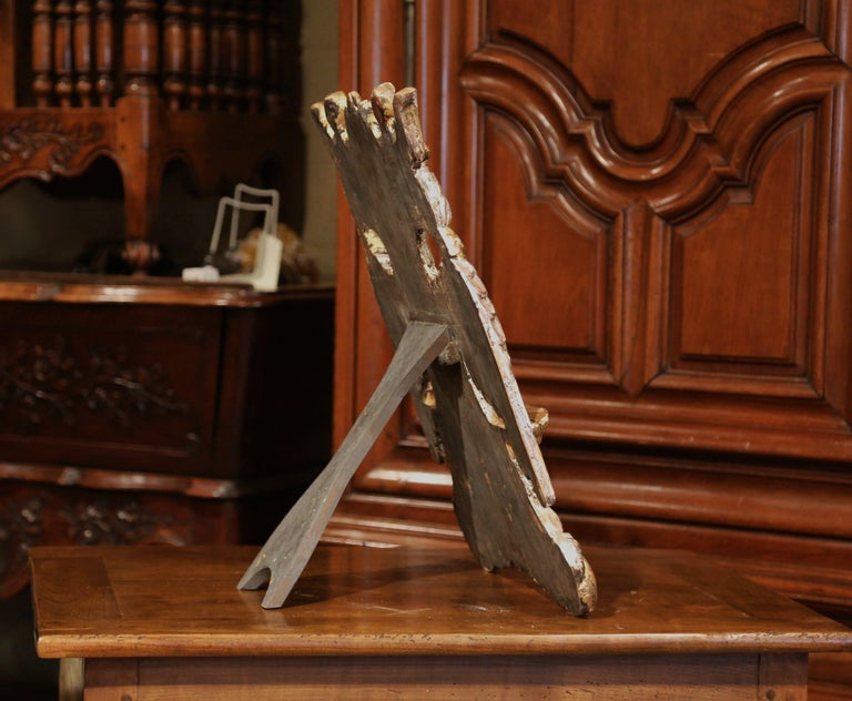Mid-19th Century Spanish Carved Giltwood and Silver Book Stand Holder For Sale 1