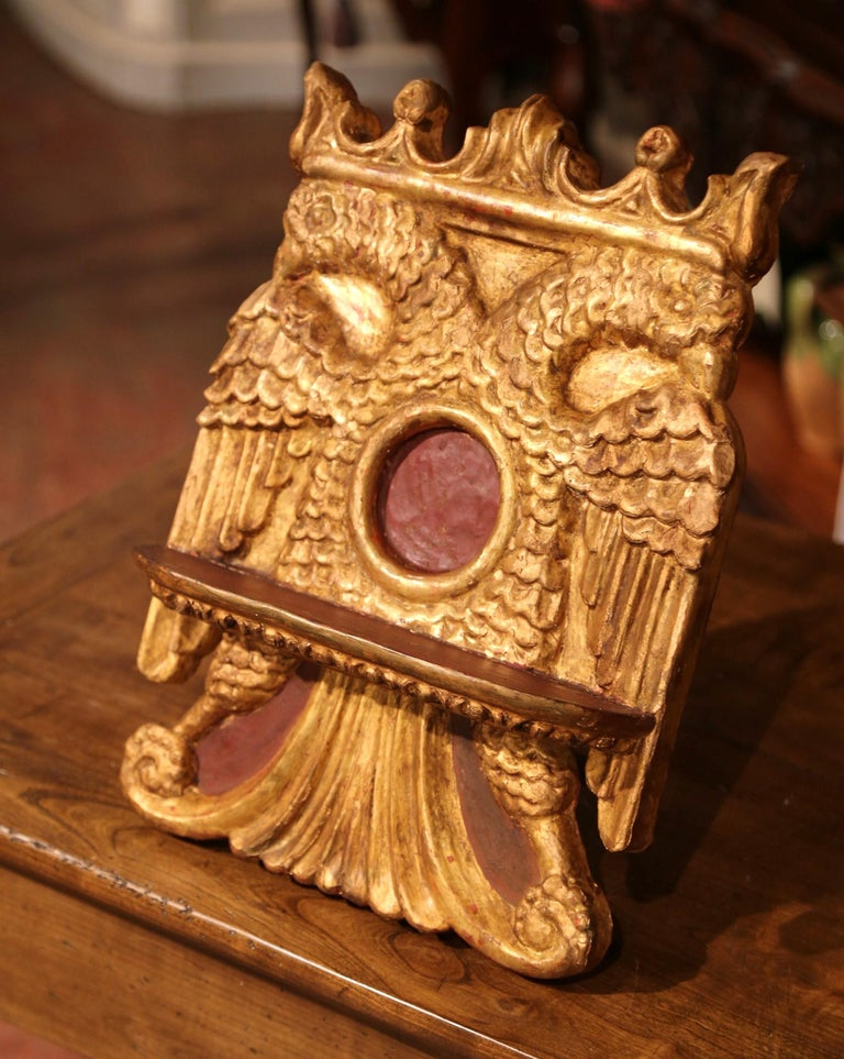 Mid-19th Century Spanish Carved Giltwood Book Stand Holder For Sale 3
