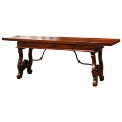 Mid-19th Century Spanish Carved Walnut and Iron Console Table Desk with Drawers
