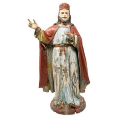 Mid-19th Century Spanish Saint Painted Wooden Figurative Sculpture