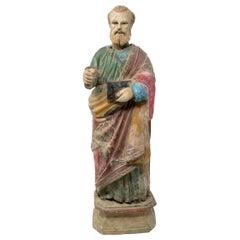 Mid-19th Century Spanish Saint Painted Wooden Figurative Sculpture