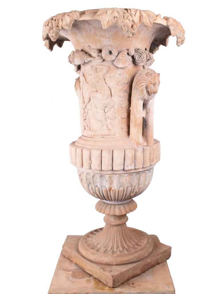 Mid-19th Century Spanish Terracotta Urn and Pedestal Stamped by the Maker For Sale 5