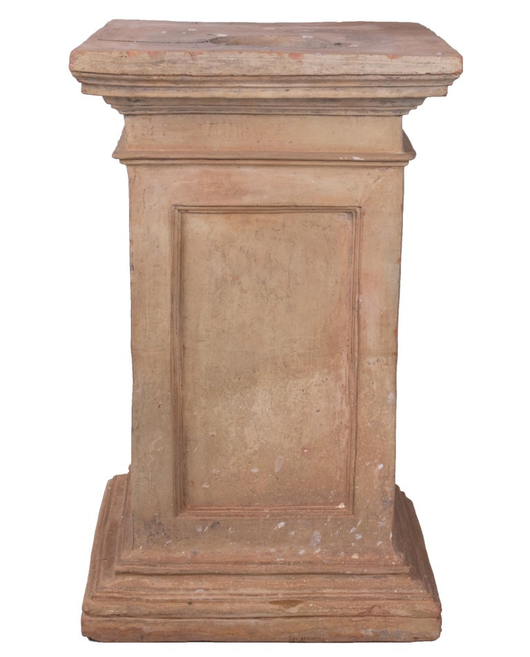 Mid-19th century Spanish terracotta urn and pedestal stamped by the maker