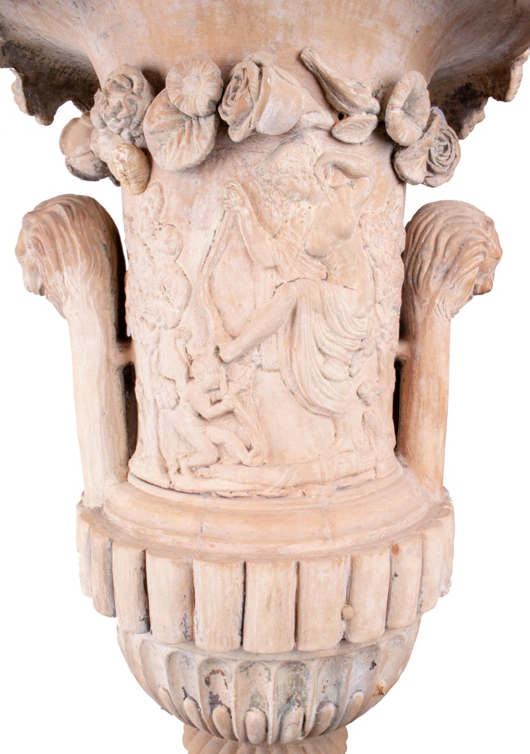 Mid-19th Century Spanish Terracotta Urn and Pedestal Stamped by the Maker For Sale 1