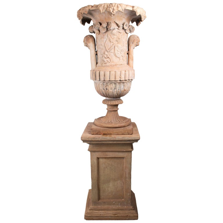 Mid-19th Century Spanish Terracotta Urn and Pedestal Stamped by the Maker For Sale