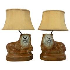 Mid-19th Century Staffordshire Lions Mounted on Custom Lamp Base