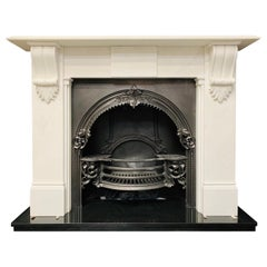 Mid-19th Century Statuary Marble Corbel Fireplace Surround