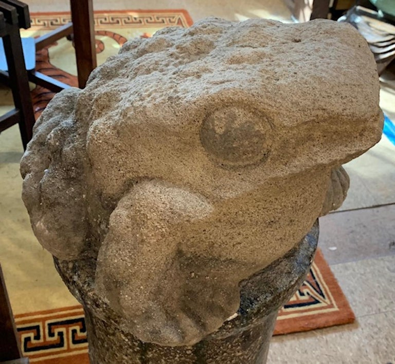 Hand-Carved Mid-19th Century Stone Garden Frog For Sale