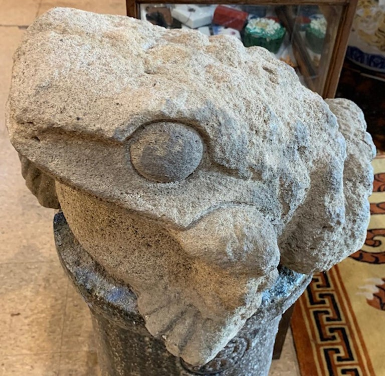 Mid-19th Century Stone Garden Frog In Good Condition For Sale In Stockbridge, MA