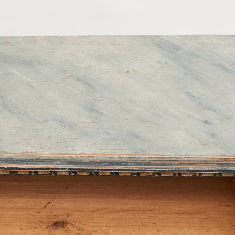 Mid-19th Century Swedish Chest of drawers Gustavian Style Painted in Blue Shades 6