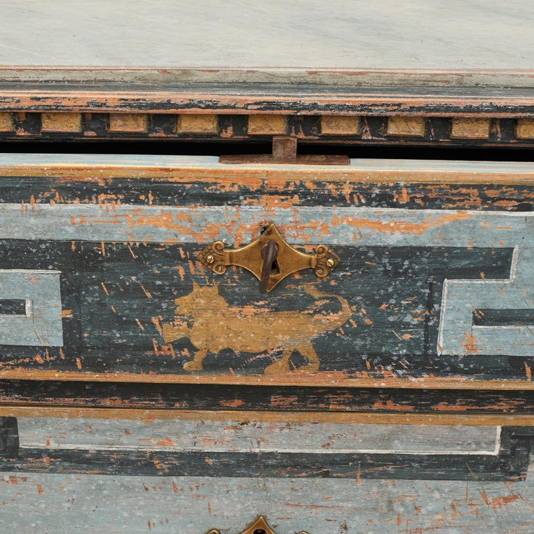 Mid-19th Century Swedish Chest of drawers Gustavian Style Painted in Blue Shades 1