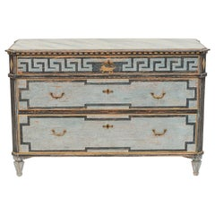 Mid-19th Century Swedish Chest of drawers Gustavian Style Painted in Blue Shades