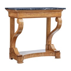Mid 19th century Swedish Elm Marble Top Console Table
