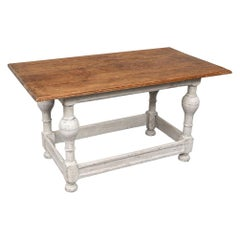 Mid-19th Century Swedish Floral Incised Pine Work Table
