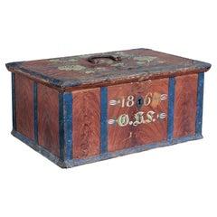 Mid 19th Century Swedish Folk Art Painted Box