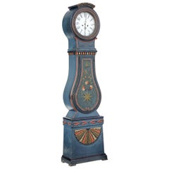 Mid-19th Century Swedish Hand Painted Mora Longcase Clock