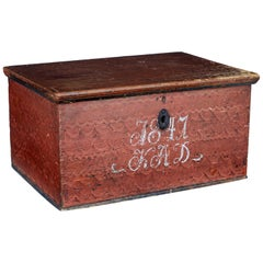 Mid-19th Century Swedish Painted Pine Box