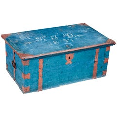Mid-19th Century Swedish Painted Pine Strong Box