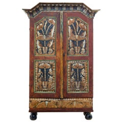 Mid-19th Century Traditional Swedish Hand Painted Cupboard