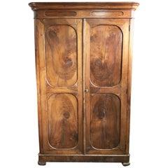 Mid-19th Century Tuscan Wardrobe in Solid National Walnut Restored Wax Polished