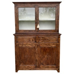 Mid 19th Century Two Part Step Back Walnut Pie Safe Cupboard with Glass Doors
