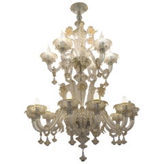 Mid-19th Century Venetian Murano Clear and Gilt Crystal Sixteen-Light Chandelier