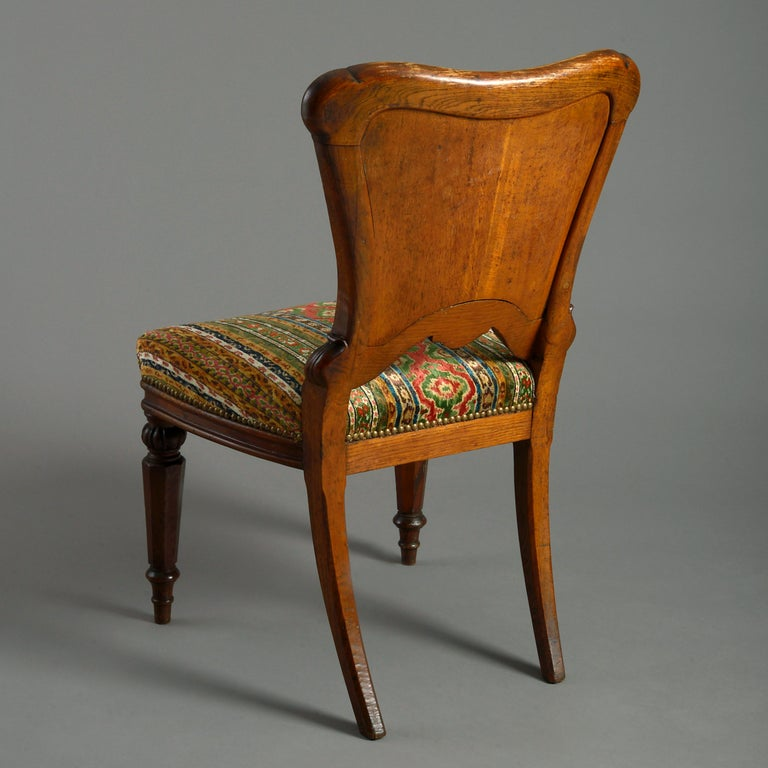 Hand-Carved Mid-19th Century Victorian Period Oak Side Chair For Sale