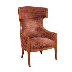 Mid-19th Century Walnut Continental Barrel Back Wing Chair
