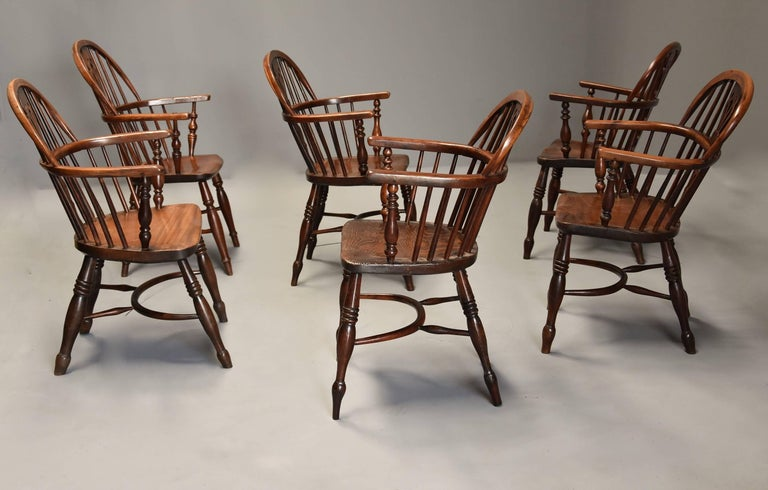 English Mid-19th Century Well Matched Set of Six Yew Wood Low Back Windsor Armchairs For Sale