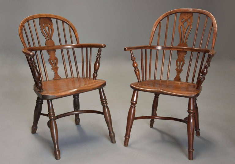 Mid-19th Century Well Matched Set of Six Yew Wood Low Back Windsor Armchairs In Good Condition For Sale In Suffolk, GB