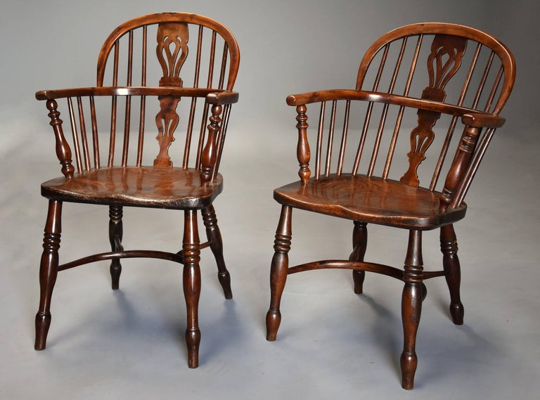 Mid-19th Century Well Matched Set of Six Yew Wood Low Back Windsor Armchairs For Sale 2