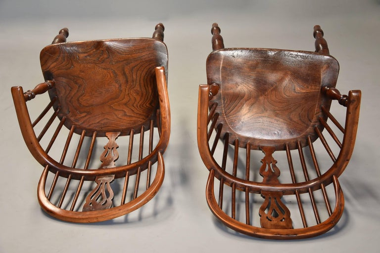 Mid-19th Century Well Matched Set of Six Yew Wood Low Back Windsor Armchairs For Sale 3