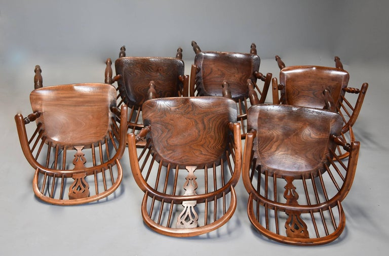 Mid-19th Century Well Matched Set of Six Yew Wood Low Back Windsor Armchairs For Sale 4