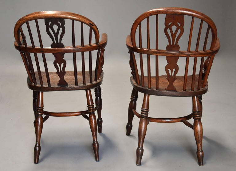 Mid-19th Century Well Matched Set of Six Yew Wood Low Back Windsor Armchairs For Sale 5