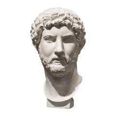 Mid-19th Century White Italian Neoclassical Plaster Bust Hadrian, 1860